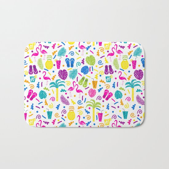 Tropical Summer flamingo bird pineapple nature trendy hipster minimal print children vacation desert Bath Mat
