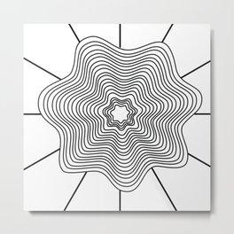 Black white curved lines Metal Print