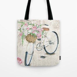 White bike & roses Tote Bag