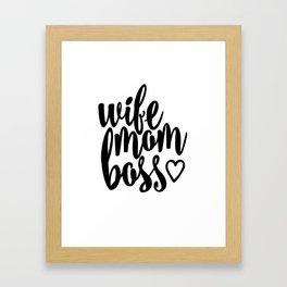Mom Boss Framed Art Print