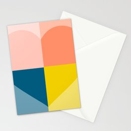 Color Block Heart Stationery Cards
