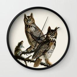 Great Horned Owl - Vintage Bird lllustration Wall Clock