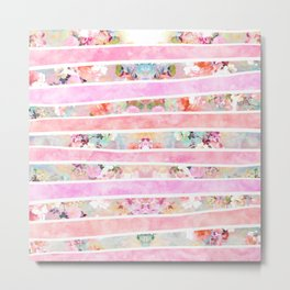 Modern floral watercolor girly pastel pink stripes Metal Print