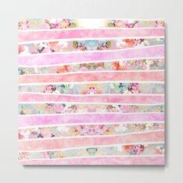 Modern floral watercolor girly pastel pink stripes Metal Print