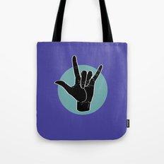 ILY - I Love You - Sign Language - Black on Green Blue 02 Tote Bag
