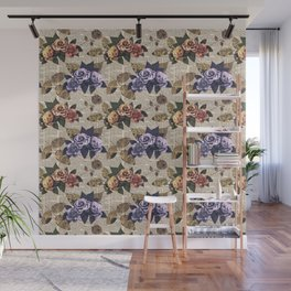 Classical Vintage Rose Flowers Collage Pattern Wall Mural