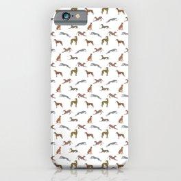 Greyt Metallic Shades of Greyhounds on White iPhone Case