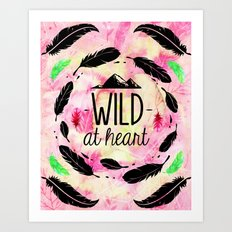 Wild at Heart - Boho Feathers and Mountain Art Print