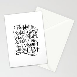 Bankrupt Without Love Stationery Cards