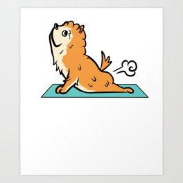 Pomeranian Yoga Pose Art Print
