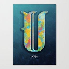 U is for Unique Canvas Print