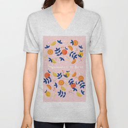Summer is here - fruit and typography Unisex V-Neck