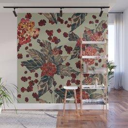Deep moody floral watercolor - dark red,  rich dark blue and brown Wall Mural