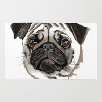 pug Area & Throw Rugs featuring Pug by Tish