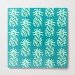 Retro Mid Century Modern Pineapple Pattern Mint Green and Teal 2 Metal Print
