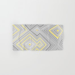 White, Yellow, and Gray Lines - Illusion Hand & Bath Towel
