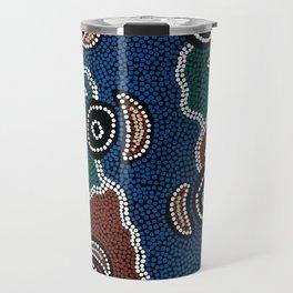 Authentic Aboriginal Art - Riverside Dreaming Travel Mug