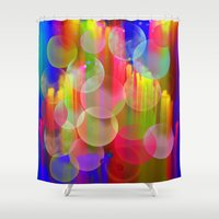 psychadelic Shower Curtains featuring Blowing Bubbles by thea walstra
