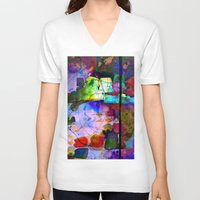 oil V-neck T-shirts featuring Oil Spill by Martina Erives50