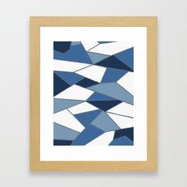Deep Blue and Navy Abstract Geometric Artwork Framed Art Print