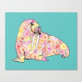 Aqua Walrus Canvas Print