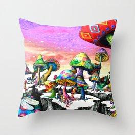 Mushroom Paradise Throw Pillow