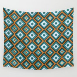 Turkish Kilim textured rug print in teal and orange, Bohemian Wall Tapestry