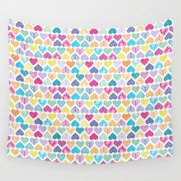 Rainbow Wild Hearts Wall Tapestry