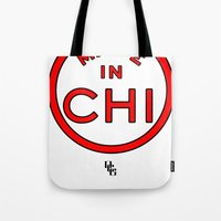 chicago bulls Tote Bags featuring Made in Chicago CHI BULLS by DCMBR - December Creative Group