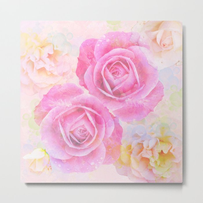 Painterly roses in pastels Metal Print