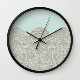 floral lace and soft blue Wall Clock