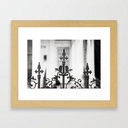 New Orleans Marigny Black and White Fence Framed Art Print