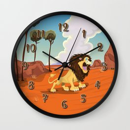 Roaring Lion in the African Savanna   Wall Clock