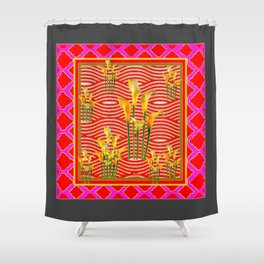 Hot Pink-Red Gold Calla Lilies Grey Art Shower Curtain