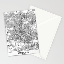 Phoenix White Map Stationery Cards