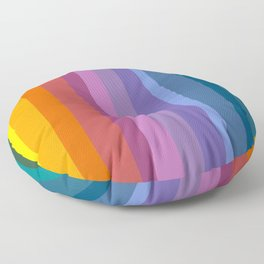 Modern Bright Rainbow Abstract Stripes Floor Pillow