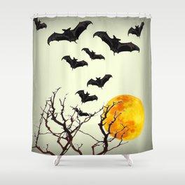 GOTHIC HALLOWEEN FULL MOON BLACK FLYING BATS DESIGN Shower Curtain