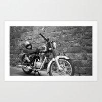 motorbike Art Prints featuring Motorbike. by Nicole Mason-Rawle