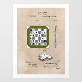 patent Kinsey Puzzle Blocks 1878 Art Print