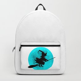 Witch On Broom With Full Moon Gift For Halloween Costume Backpack