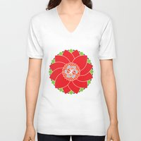 flower pattern V-neck T-shirts featuring Flower Pattern by smoothimages