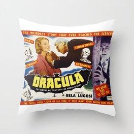 Dracula, Bela Lugosi, vintage horror movie poster Throw Pillow