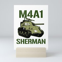 M4A1 SHERMAN Tank Military US 2 World War Tanks Mini Art Print
