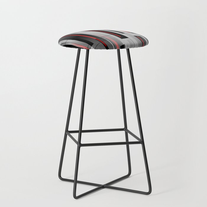 Off the Grid - Abstract - Gray, Black, Red Bar Stool