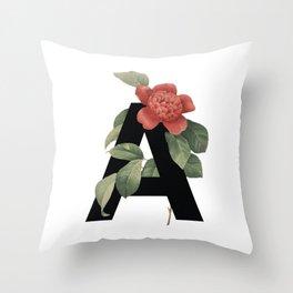 Floral Alphabet Prints: Letter A Throw Pillow