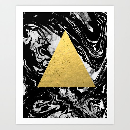 Layden - triangle black and gold marble trendy hipster gift idea cell phone case minimal abstract  Art Print