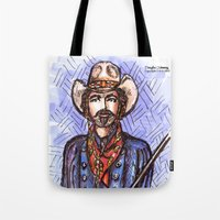 tom selleck Tote Bags featuring Quigley Down Under, Tom Selleck Drawing by Douglas Mooney