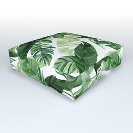 Green leaf watercolor pattern Outdoor Floor Cushion