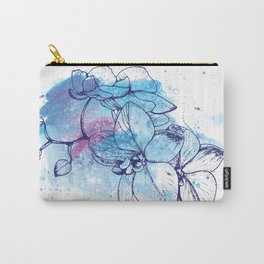 Orchid Wall Art, Blue Flowers, Watercolour Print, Nature Lovers Gift Carry-All Pouch
