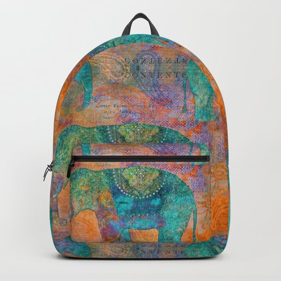 Elephant Pattern allover orange turquoise Backpack